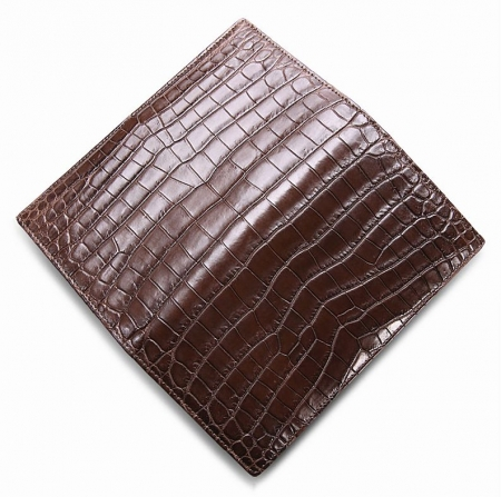 Alligator Multi-Card Long Bifold Wallet Alligator Suit Wallet for Men-Brown-Details
