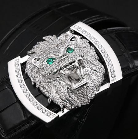 Alligator Skin Belt with Lion Pattern Pin Buckle-Sliver