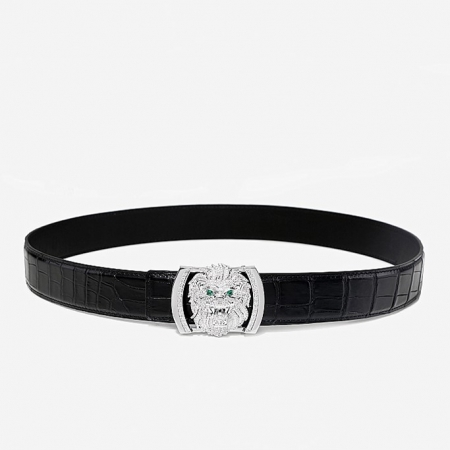 Alligator Skin Belt with Natural Zircons and Lion Pattern Pin Buckle-2