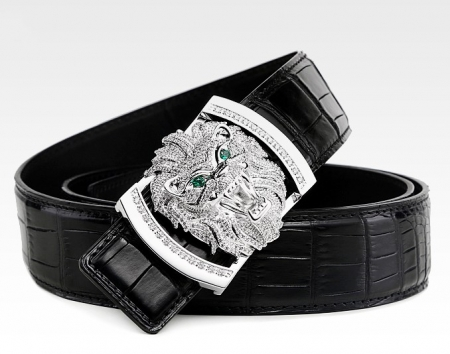 Alligator Skin Belt with Natural Zircons and Lion Pattern Pin Buckle-Black