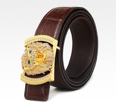 Alligator Skin Belt with Natural Zircons and Lion Pattern Pin Buckle-Brown