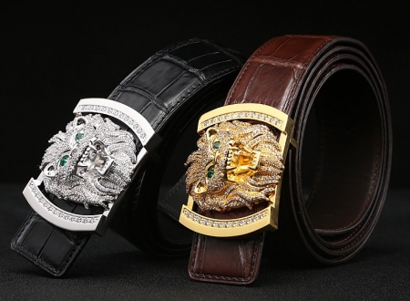 Alligator Skin Belt with Natural Zircons and Lion Pattern Pin Buckle-Display