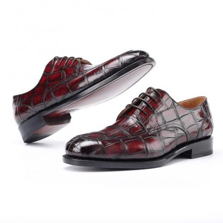 Burnished Genuine Alligator Leather Shoes Classic Formal Leader Dress Shoes