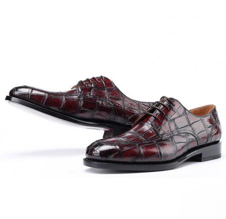 Burnished Genuine Alligator Leather Shoes for Men