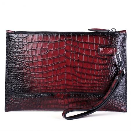 Casual Alligator Skin Envelope Clutch Bag Business Portfolio Briefcase for Men-Back