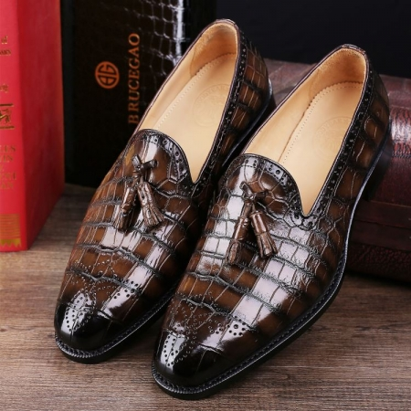 Classic Alligator Leather Tassel Loafer Comfortable Slip-On Dress Shoes
