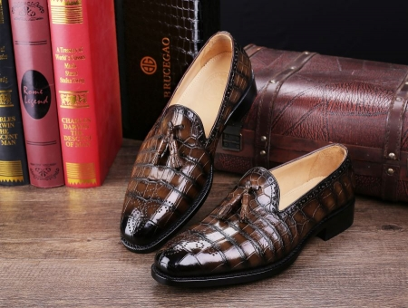 Classic Alligator Leather Tassel Loafer Comfortable Slip-On Dress Shoes-Display