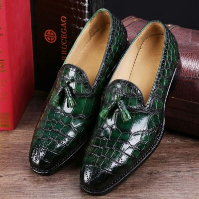 Classic Alligator Leather Tassel Loafer Comfortable Slip-On Dress Shoes-Green
