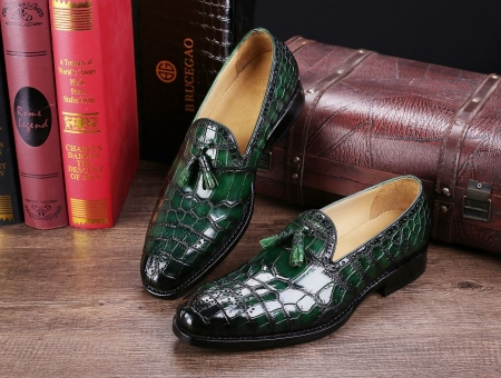 Classic Alligator Leather Tassel Loafer Comfortable Slip-On Dress Shoes-Green-Display