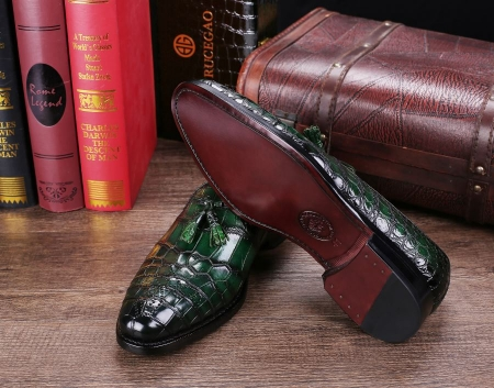 Classic Alligator Leather Tassel Loafer Comfortable Slip-On Dress Shoes-Green-Sole