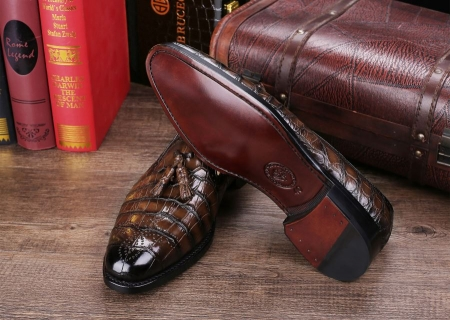 Classic Alligator Leather Tassel Loafer Comfortable Slip-On Dress Shoes-Sole