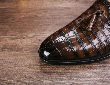 Classic Alligator Leather Tassel Loafer Comfortable Slip-On Dress Shoes-Toe