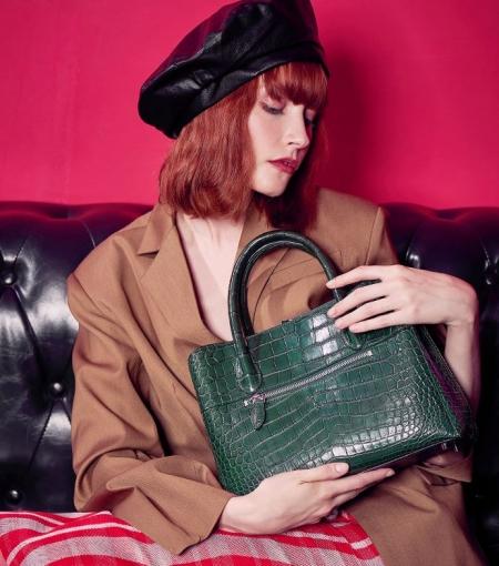 Classic Alligator Leather Tote Handbags Purses Shoulder Satchel Bags-2
