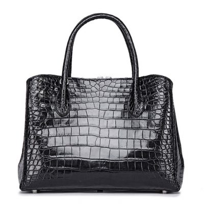 Classic Alligator Leather Tote Handbags Purses Shoulder Satchel Bags-Black