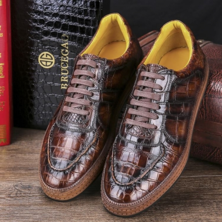 Designer Lace up Alligator Shoes Casual Alligator Sneakers for Men