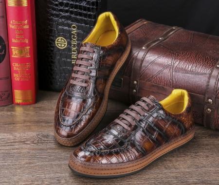 Designer Lace up Alligator Shoes Casual Alligator Sneakers for Men-Display