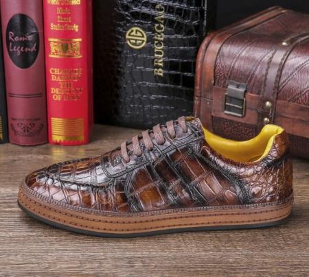 Designer Lace up Alligator Shoes Casual Alligator Sneakers for Men-Side