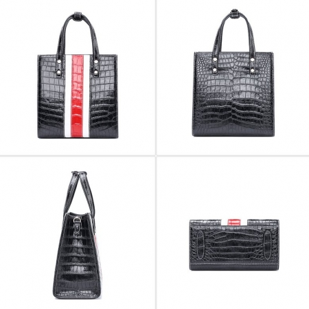 Elegant Alligator Handbags Shoulder Bag Tote Bag-Black-Details