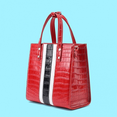 Elegant Alligator Handbags Shoulder Bag Tote Bag-Red-Display