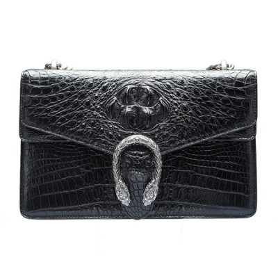 Fashion Crocodile Leather Cross Body Purse Shoulder Bag for Ladies-Black
