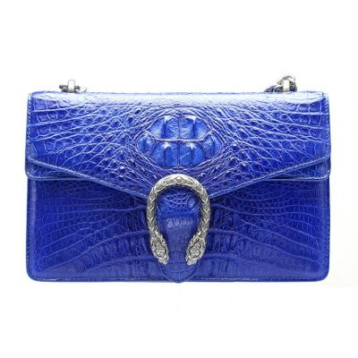 Fashion Crocodile Leather Cross Body Purse Shoulder Bag for Ladies-Blue