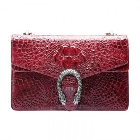 Fashion Crocodile Leather Cross Body Purse Shoulder Bag for Ladies-Claret