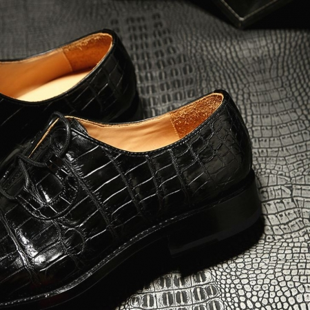 Handcrafted Genuine Alligator Leather Mens Classic Wholecut Oxford Shoes-Details