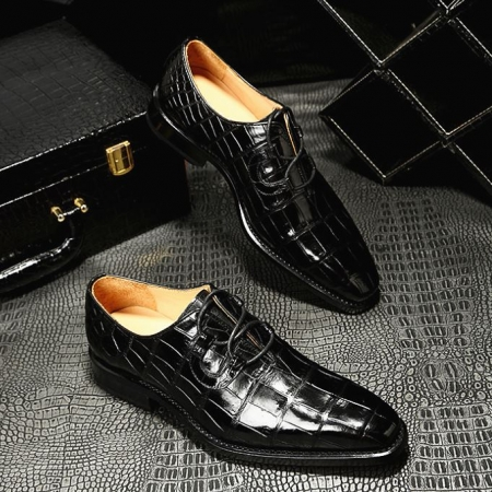 Handcrafted Genuine Alligator Leather Mens Classic Wholecut Oxford Shoes-Display-1