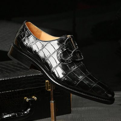 Handcrafted Genuine Alligator Leather Mens Classic Wholecut Oxford Shoes