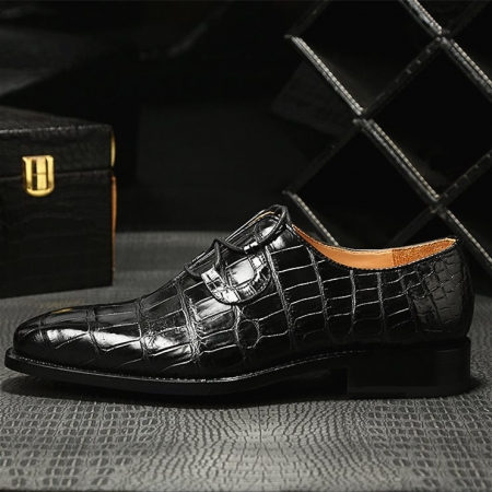 Handcrafted Genuine Alligator Leather Mens Classic Wholecut Oxford Shoes-Side