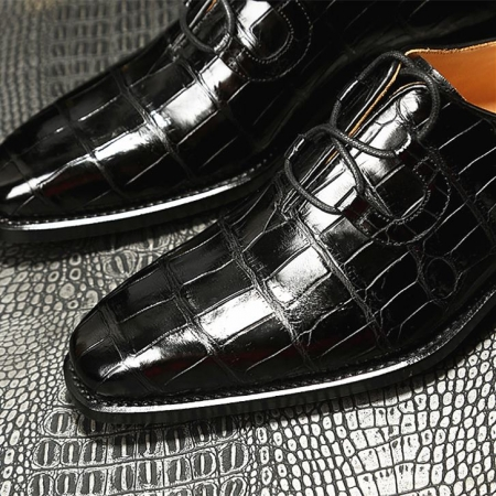 Handcrafted Genuine Alligator Leather Mens Classic Wholecut Oxford Shoes-Toe