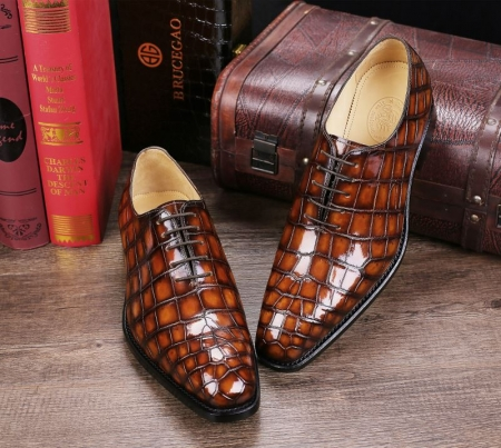 Handcrafted Men's Classic Alligator Leather Dress Shoes Goodyear Welt-Brown-1
