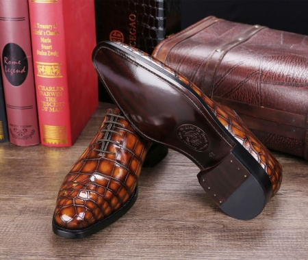 Handcrafted Men's Classic Alligator Leather Dress Shoes Goodyear Welt-Brown-Sole