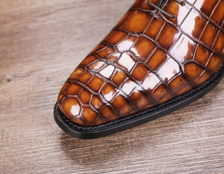 Handcrafted Men's Classic Alligator Leather Dress Shoes Goodyear Welt-Brown-Toe