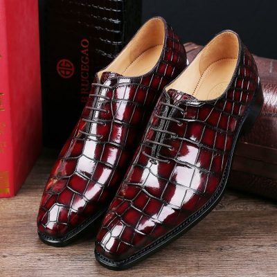 Handcrafted Men's Classic Alligator Leather Dress Shoes Goodyear Welt-Burgundy