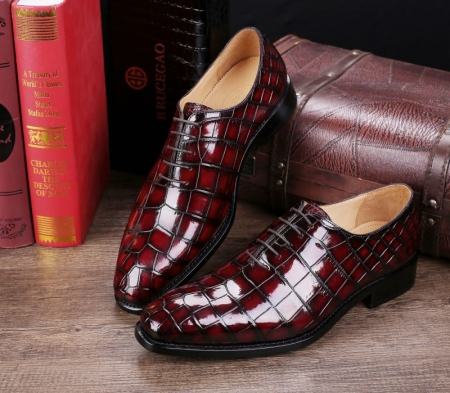 Handcrafted Men's Classic Alligator Leather Dress Shoes Goodyear Welt-Burgundy-Dispaly