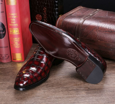 Handcrafted Men's Classic Alligator Leather Dress Shoes Goodyear Welt-Burgundy-Sole