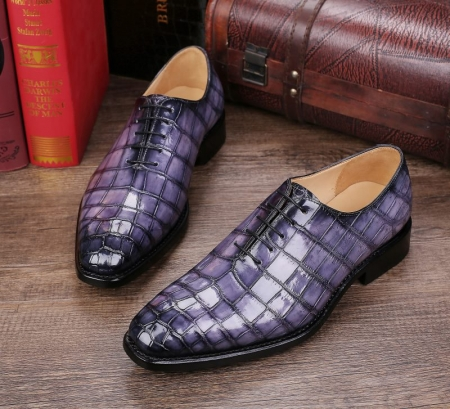 Handcrafted Men's Classic Alligator Leather Dress Shoes Goodyear Welt-Gray-Display