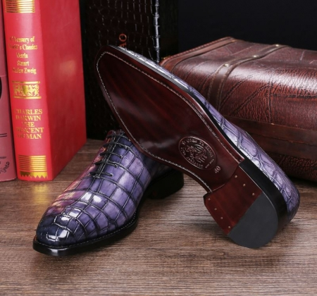 Handcrafted Men's Classic Alligator Leather Dress Shoes Goodyear Welt-Gray-Sole