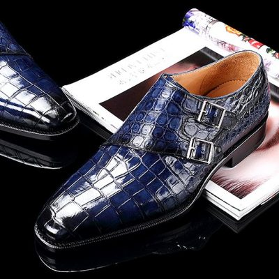 Handcrafted Men's Double Monk Strap Genuine Alligator Leather Modern Classic Dress Shoes-Blue