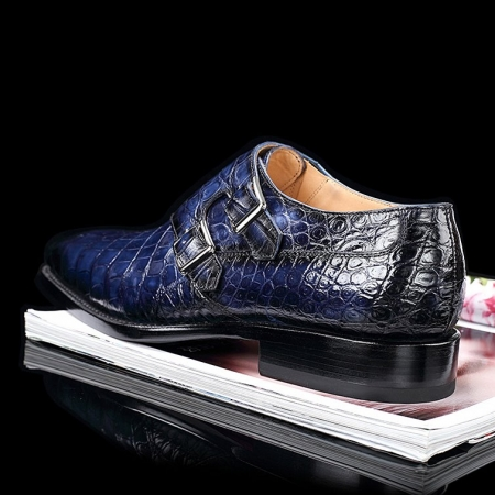 Handcrafted Men's Double Monk Strap Genuine Alligator Leather Modern Classic Dress Shoes-Blue-Heel