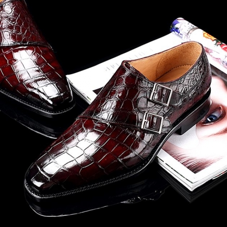 Handcrafted Men's Double Monk Strap Genuine Alligator Leather Modern Classic Dress Shoes-Burgundy