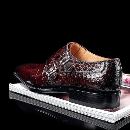 Handcrafted Men's Double Monk Strap Genuine Alligator Leather Modern Classic Dress Shoes-Burgundy-Heel