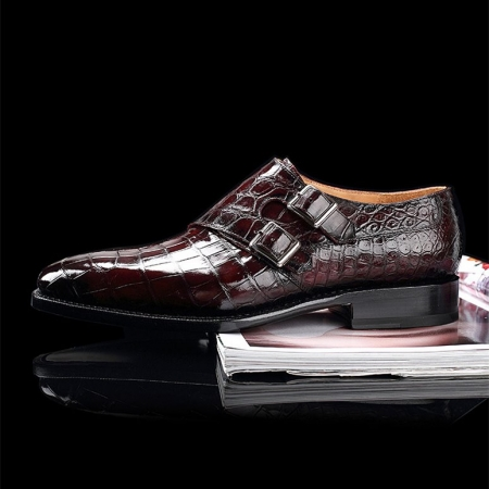 Handcrafted Men's Double Monk Strap Genuine Alligator Leather Modern Classic Dress Shoes-Burgundy-Side