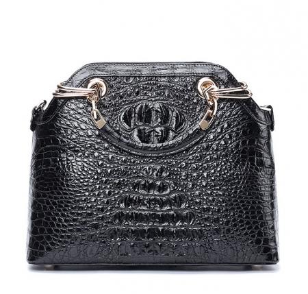 Ladies Genuine Crocodile Handbag Top Handle Purse-Black