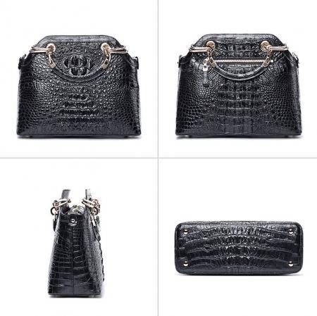 Ladies Genuine Crocodile Handbag Top Handle Purse-Black-Display