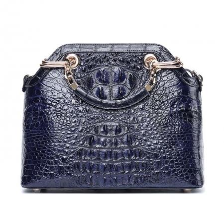 Ladies Genuine Crocodile Handbag Top Handle Purse-Dark Blue