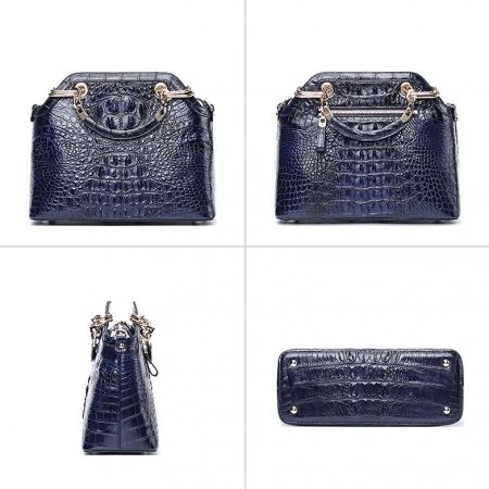 Ladies Genuine Crocodile Handbag Top Handle Purse-Dark Blue-Display
