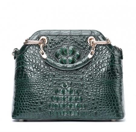 Ladies Genuine Crocodile Handbag Top Handle Purse-Green