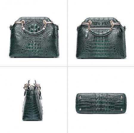 Ladies Genuine Crocodile Handbag Top Handle Purse-Green-Display